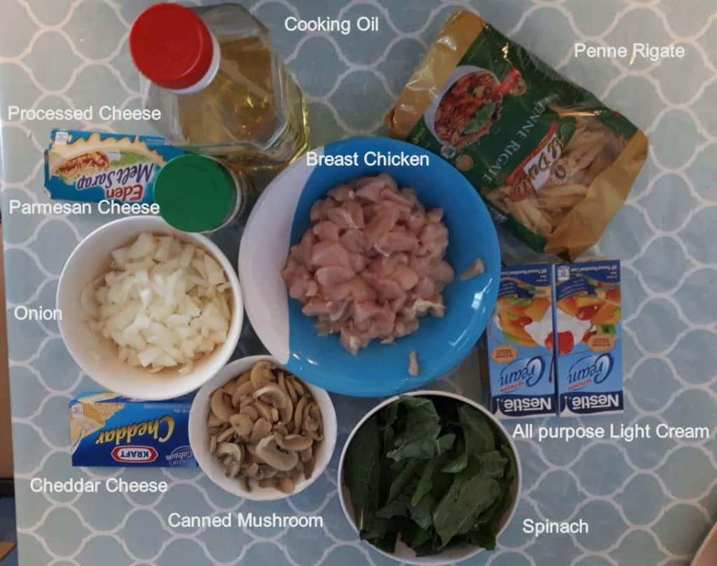 Ingredient of Chicken Alfredo Pasta