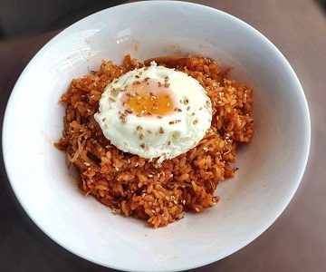 Kimchi Fried Rice with sunny side-up egg