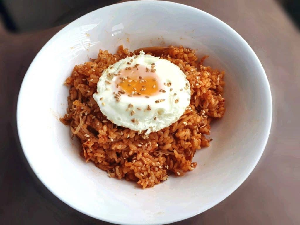 A Kimchi Fried Rice Recipe which is mixed with kimchi, bean sprout and gochujang sauce