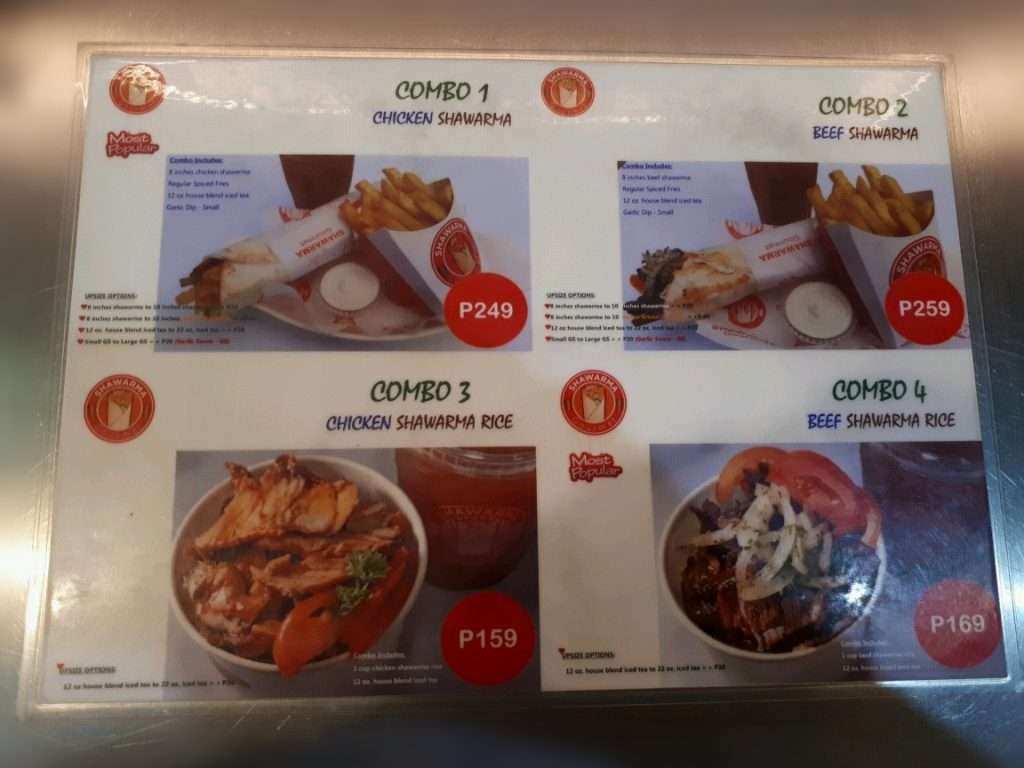 Menu of Shawarma Gourmet