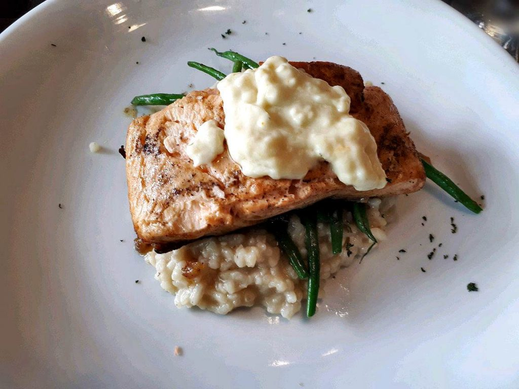 Pan Fried Salmon with Citrus Butter Sauce in Suite Room in Ayala Cebu