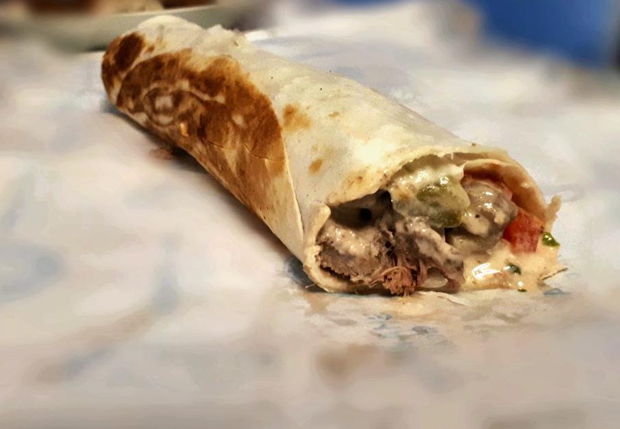 A Beef Shawarma sandwich in Shawarma Gourmet