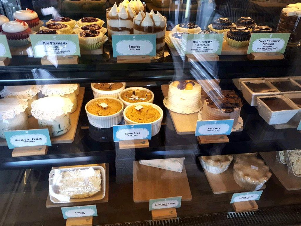 Cakes and other desserts displayed in 10 Dove Street Confectionery