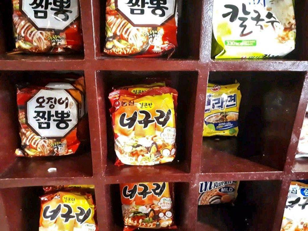 Instant noodles in a buffet korean restaurant