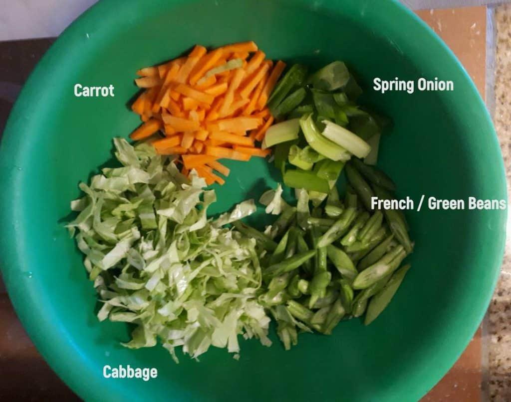 Ingredients needed to make Pancit Canton