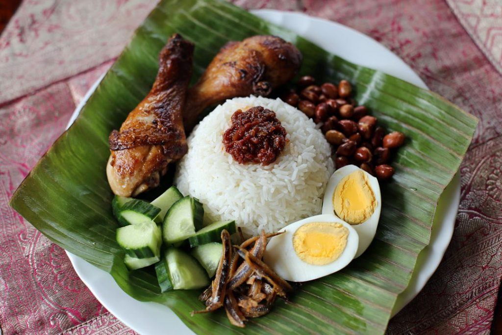 A popular international chicken recipe called Nasi Lemak which is a national dish of Malaysia.