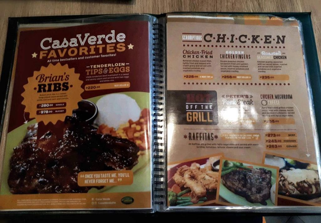 Food Menu in Casa Verde Cebu