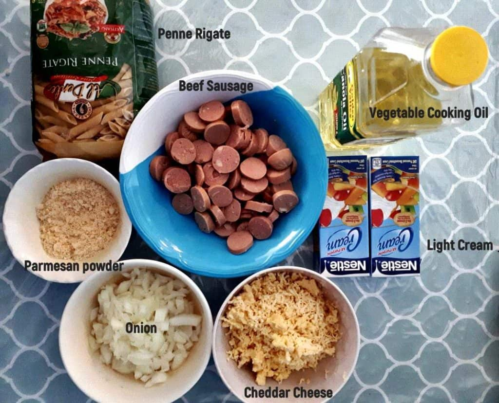 Ingredients of Penne Carbonara Recipe