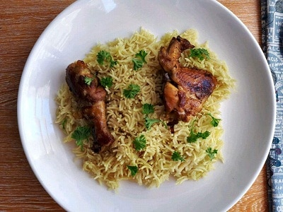 Chicken Majboos with Basmati rice