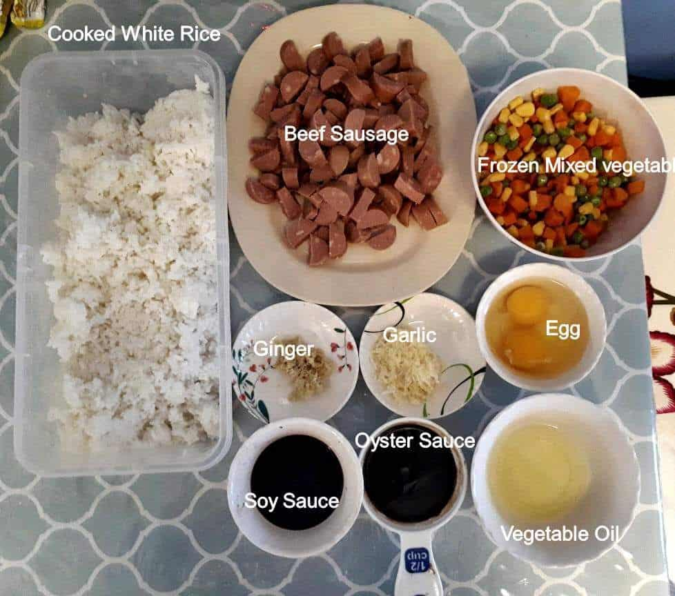 The ingredients of Shanghai fried rice
