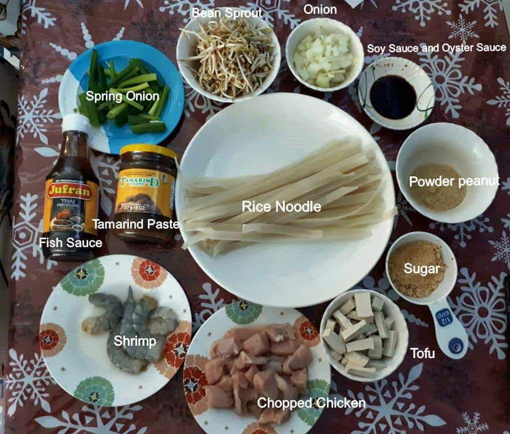 Ingredients of Chicken Pad Thai Recipe