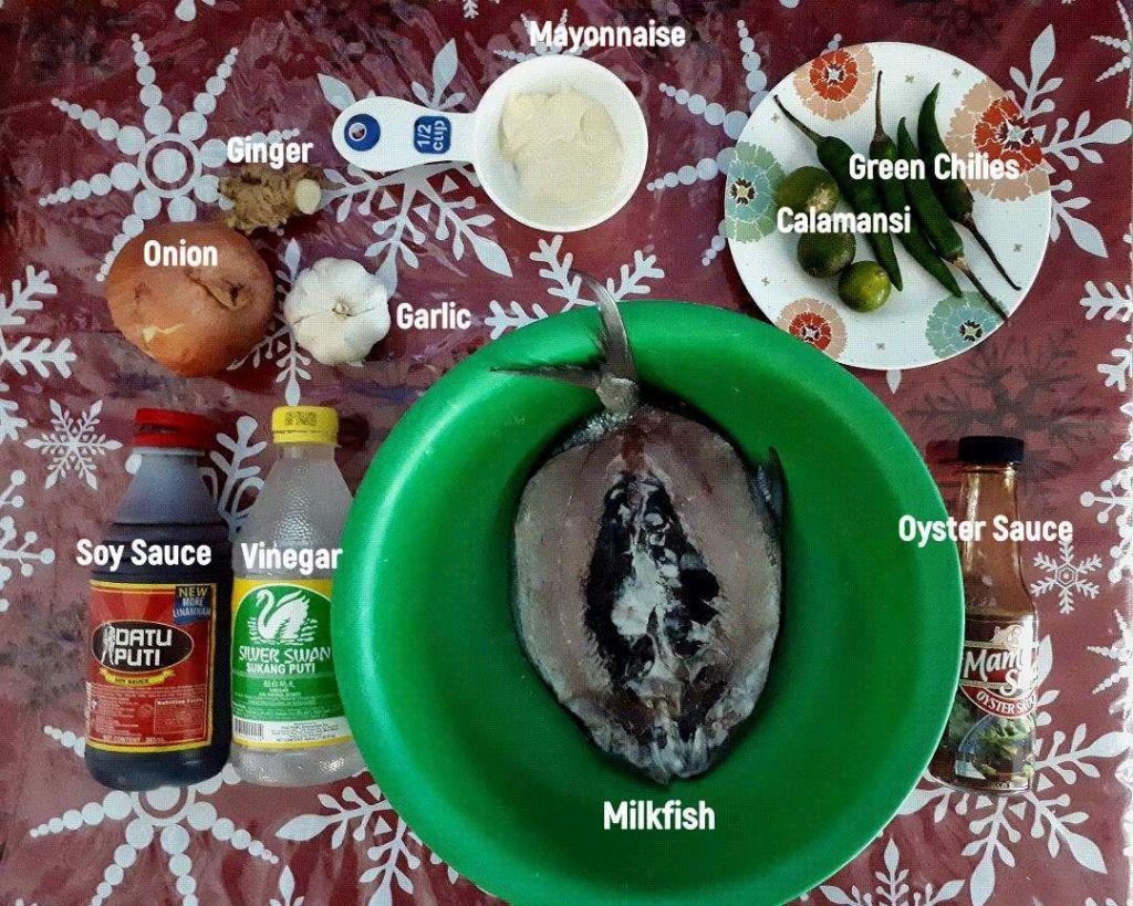 The ingredients of Bangus Sisig