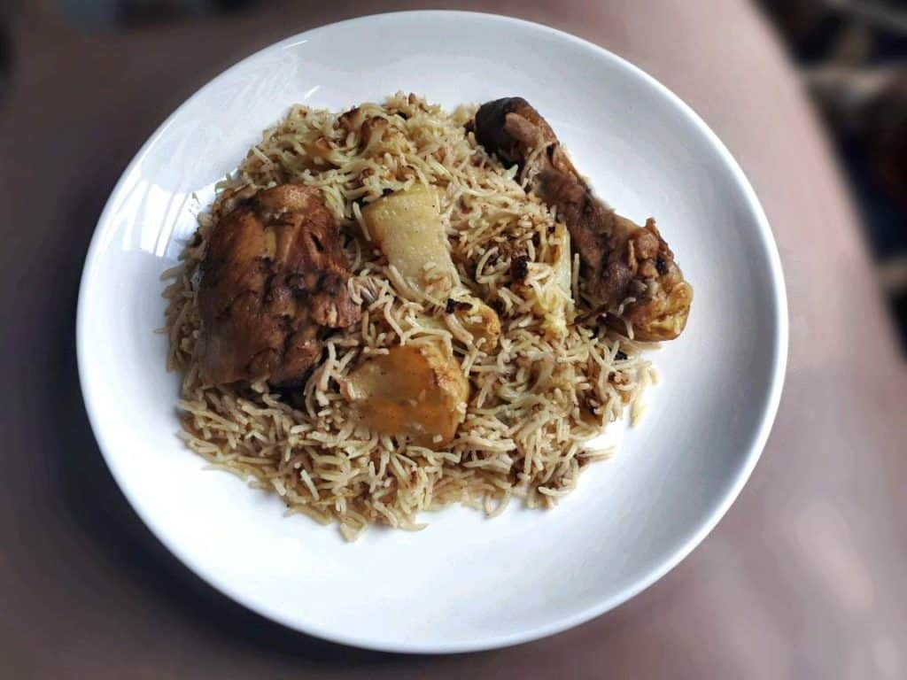 Recipe of Chicken Maqluba in a plate