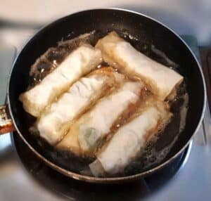 Deep Frying the Lumpiang Gulay