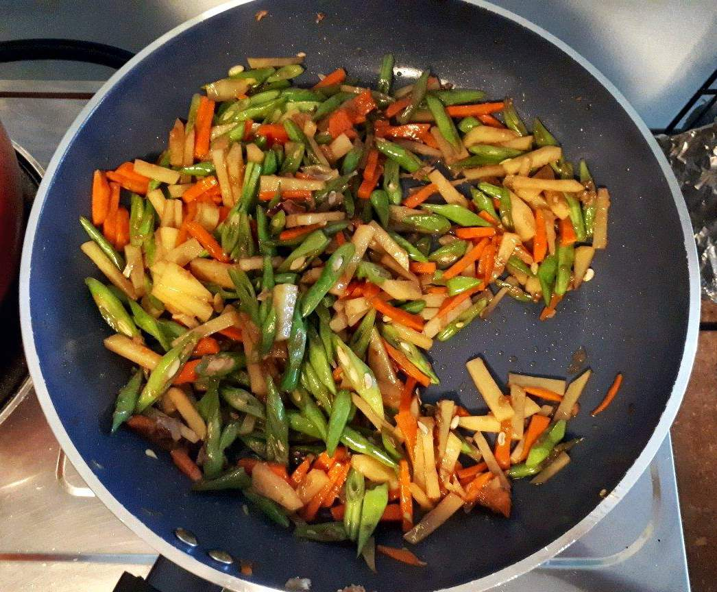 Cooking the Vegetables for Lumpia