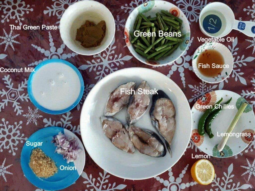 Ingredients of Thai Fish Green Curry