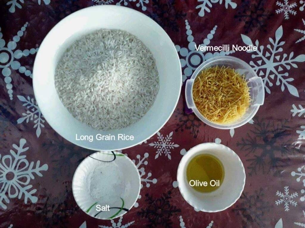Ingredient of Vermicelli Rice Recipe