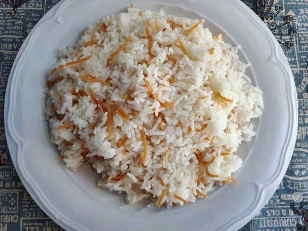 Lebanese Vermicelli Rice with long grain white rice and vermicelli noodle in a plate