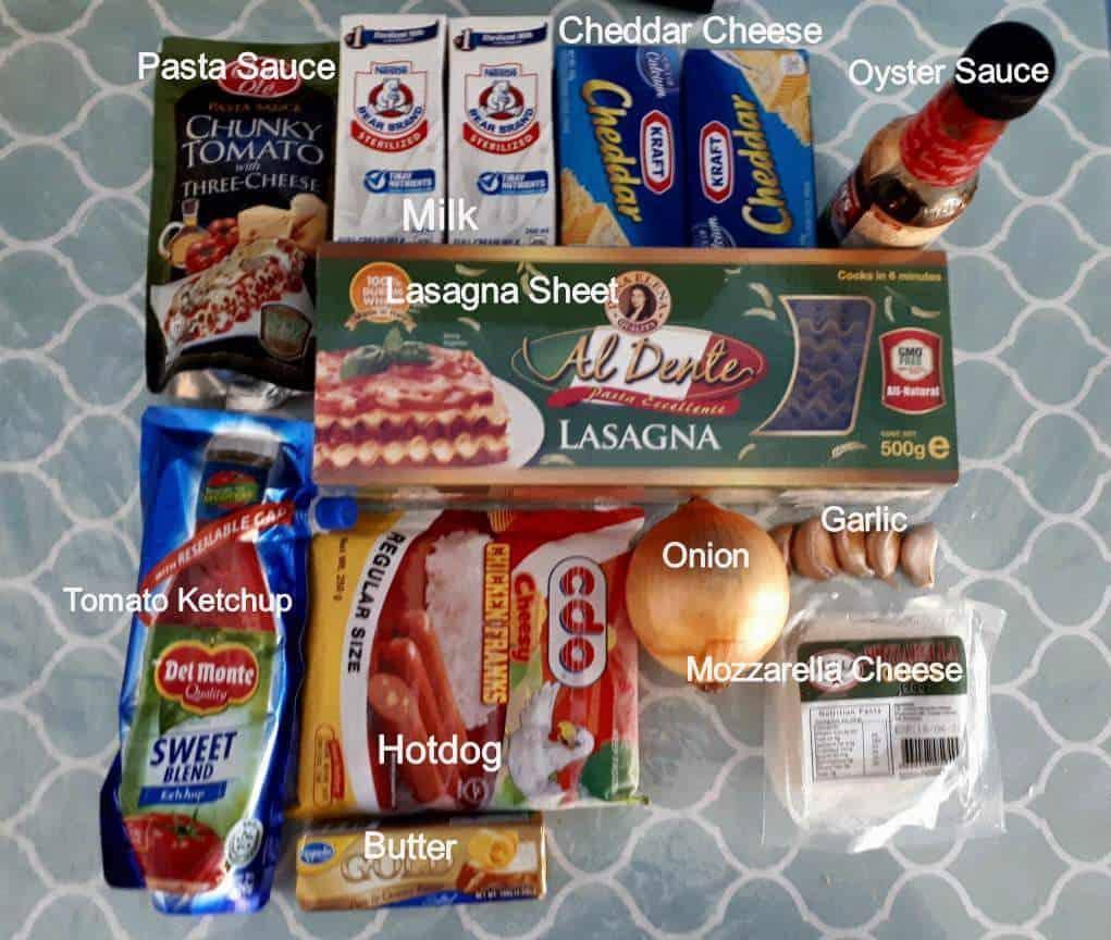 Ingredients of Pinoy Lasagna Recipe