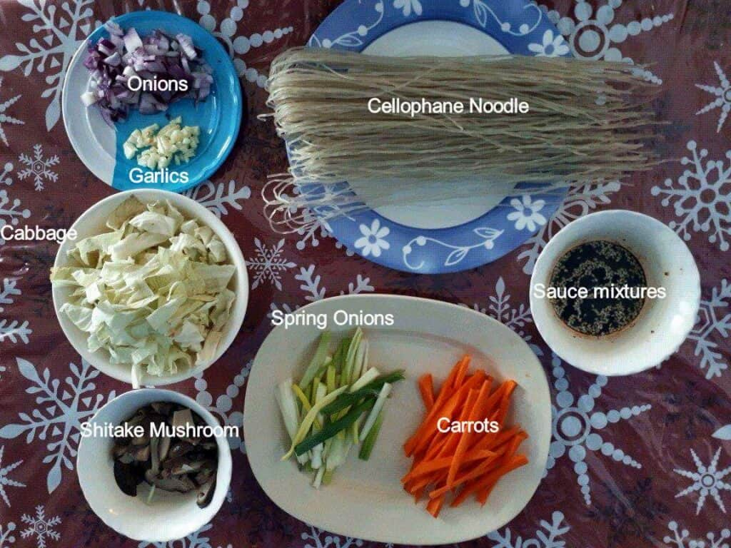 Ingredients of Vegan Japchae Korean Glass Noodles