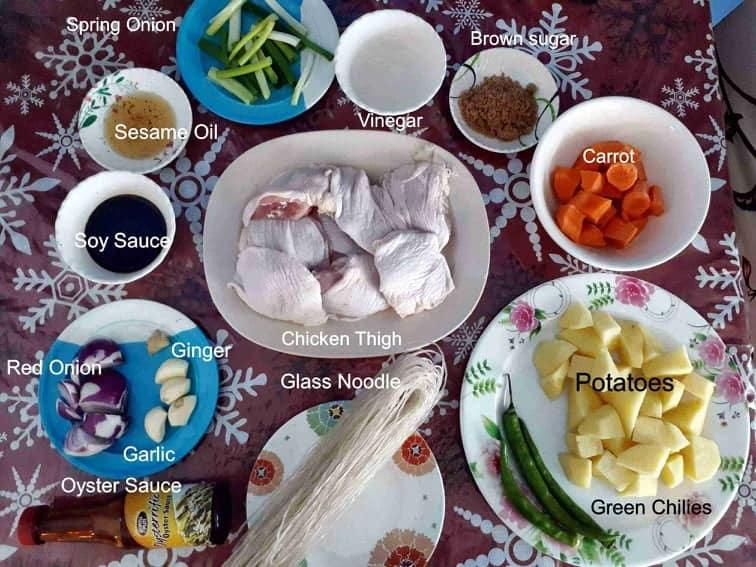 Ingredients of Andong Jjimdak Recipe (Korean braised chicken)