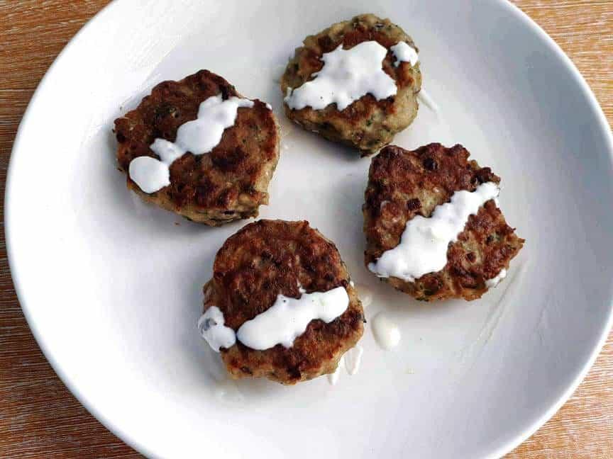 Chicken Kafta Meat drizzle with yogurt garlic sauce