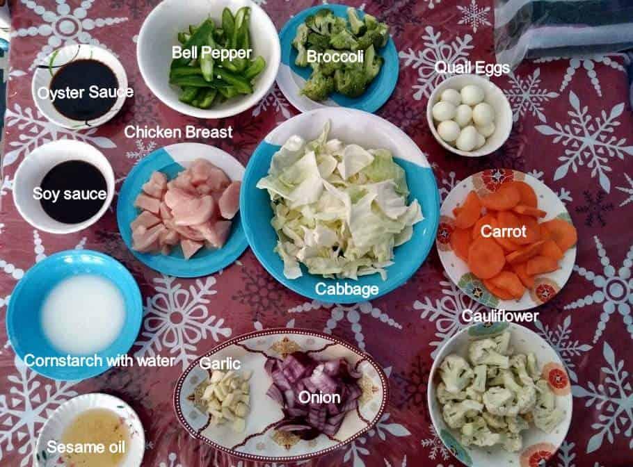 Recipe ingredients of Filipino Chop Suey