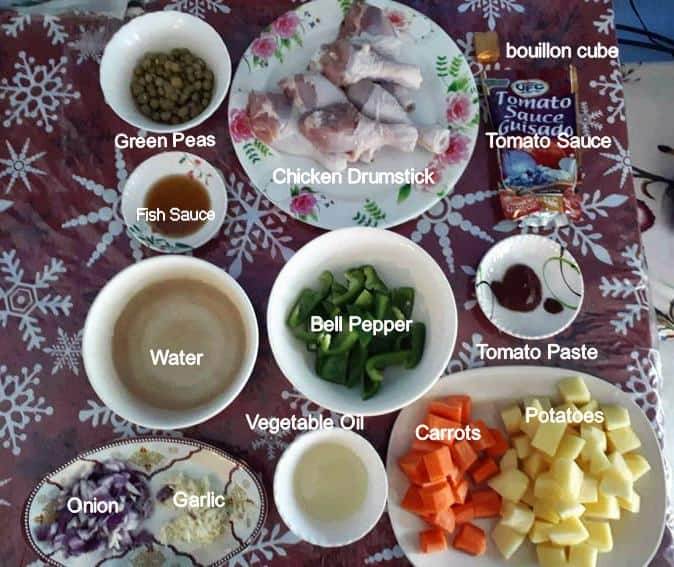Recipe ingredients of Chicken Afritada recipe includes potatoes, carrots, bell pepper, water, vegetable oil, garlic, onion, chicken legs, green peas, fish sauce, tomato sauce & paste and bouillon cube.
