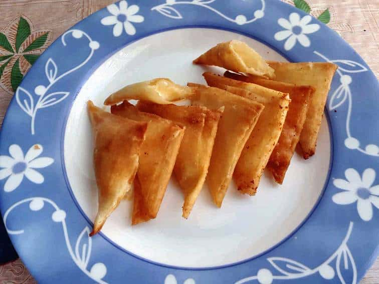 Cheese Samosas in a plate