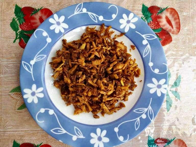 Shredded chicken called kagikit serve in a plate for pastil recipe