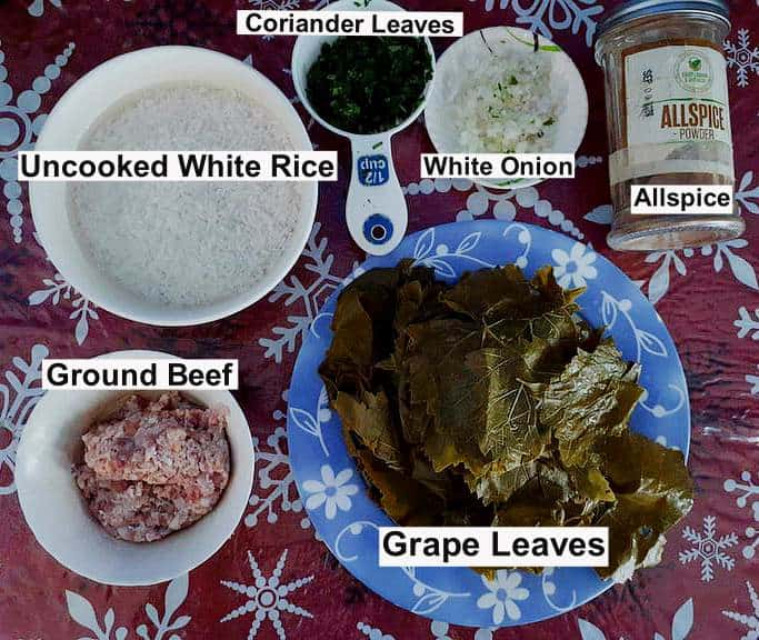 Recipe ingredients of Lebanese Stuffed Grape Leaves Warak Enab